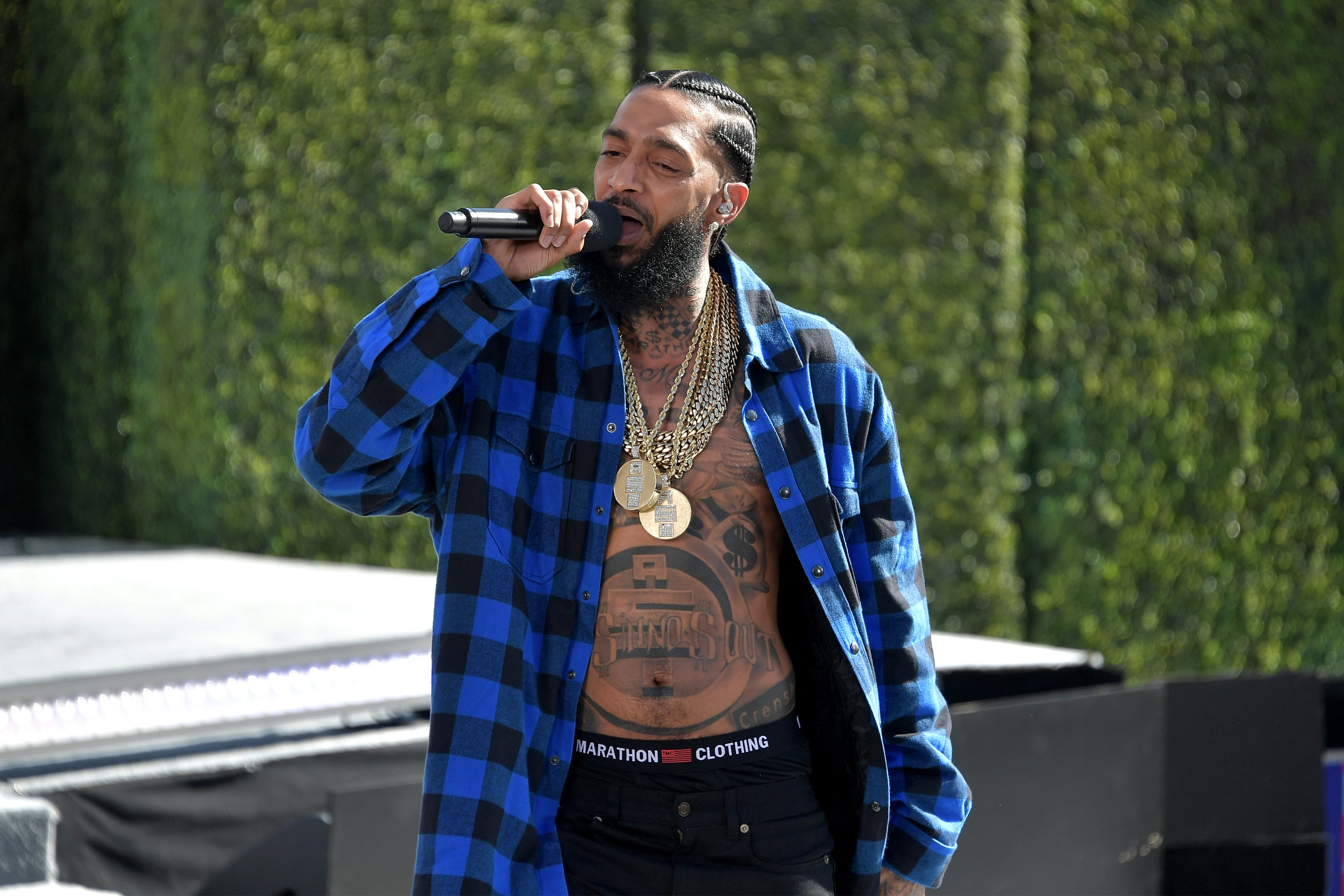 Nipsey Hussle performs onstage at Live! Red! Ready! Pre-Show, sponsored by Nissan, at the 2018 BET Awards at Microsoft Theater on June 24, 2018 in Los Angeles, Calif. Hussle was killed in a shooting outside a clothing store he owned on Sunday, March 31, 2019.
