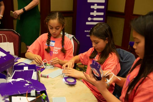 "Girls from the ""Snap the Gap"" pilot program work on their littleBits inventor kit."