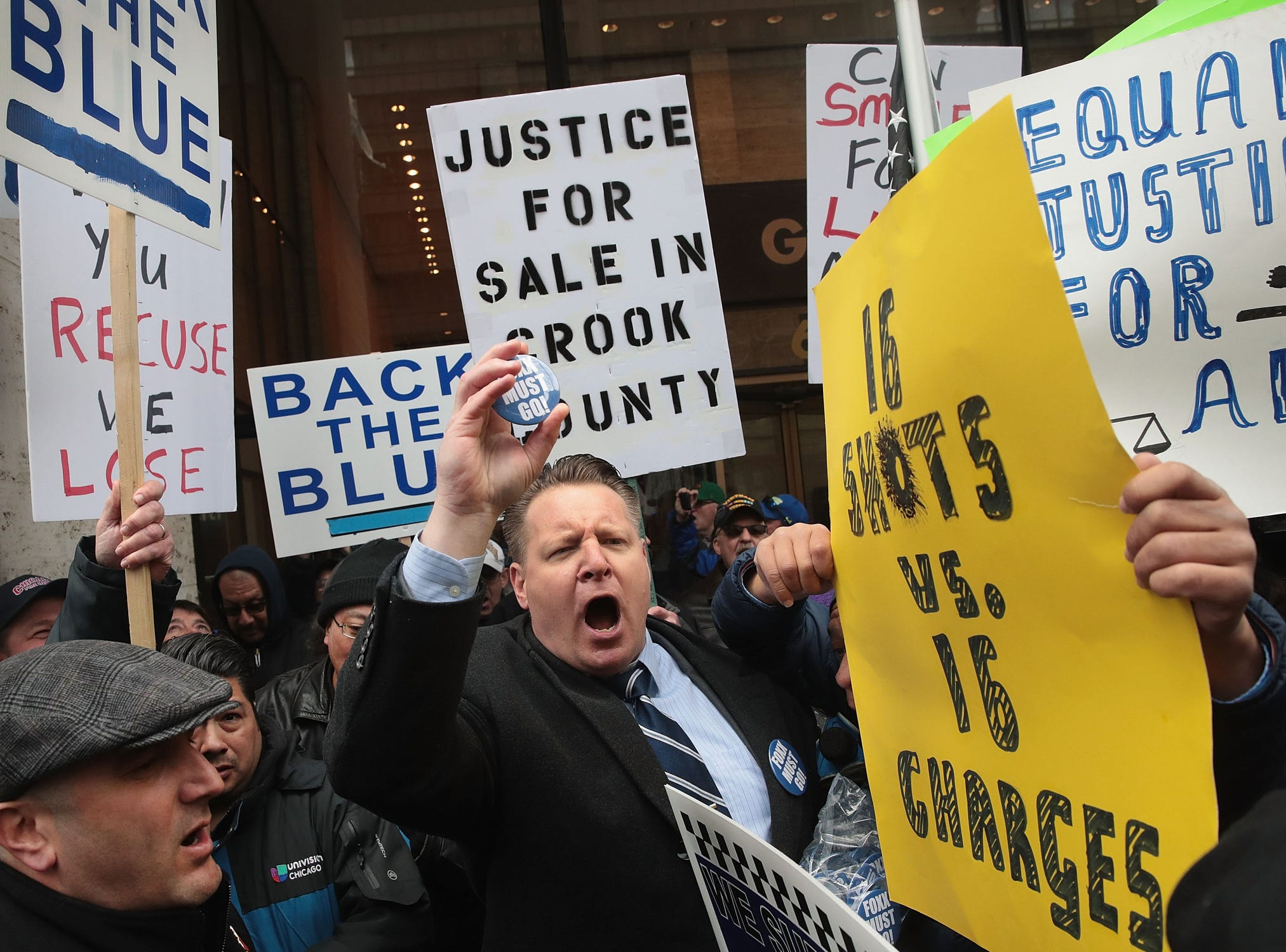 Protestors argue with supporters of Cook County State's Attorney Kim Foxx during a demonstration organized by the Fraternal Order of Police to call for Foxx's removal on April 1, 2019 in Chicago.