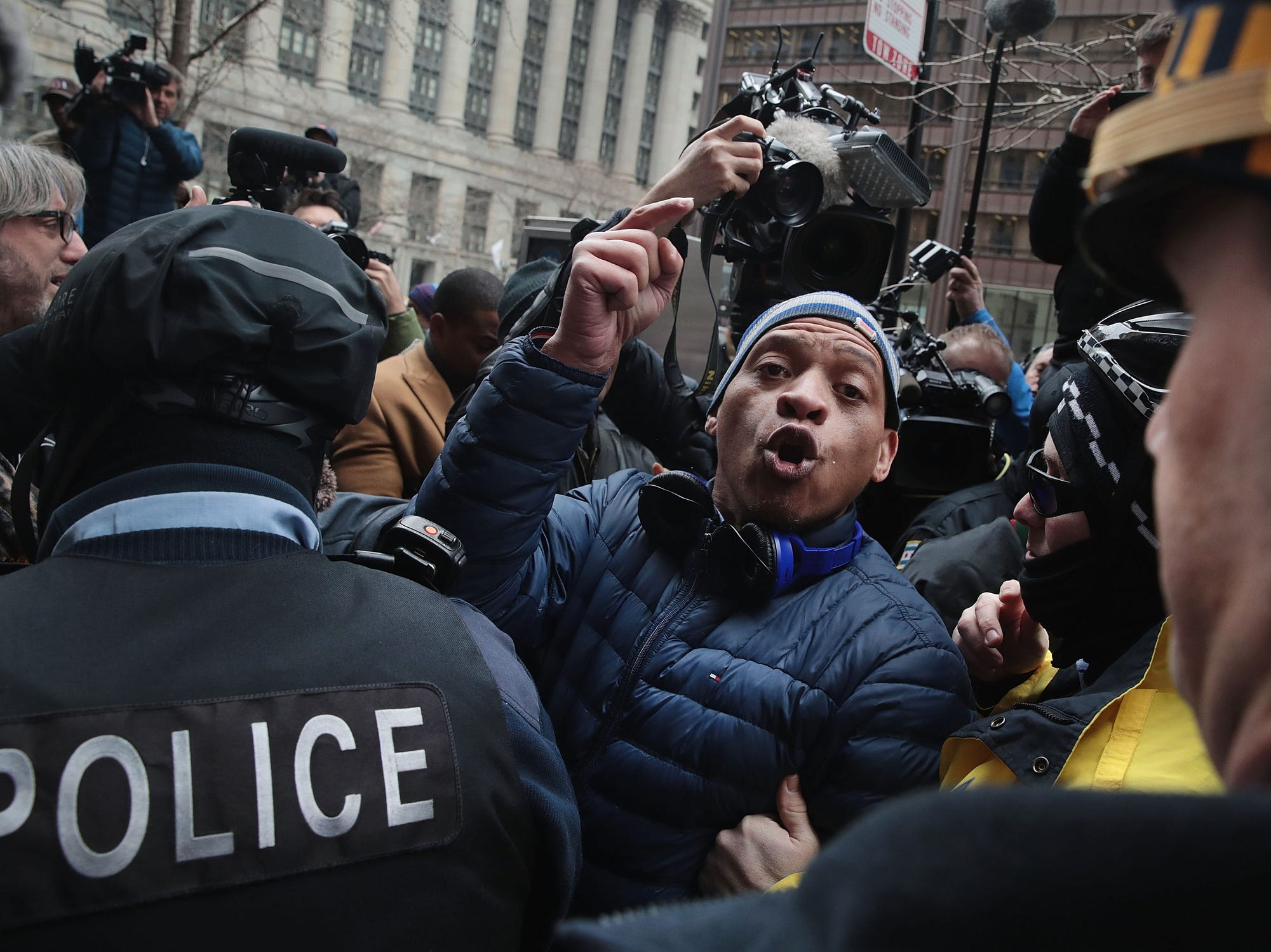 Supporters of Cook County State's Attorney Kim Foxx argue with protestors during a demonstration organized by the Fraternal Order of Police to call for Foxx's removal on April 01, 2019 in Chicago.