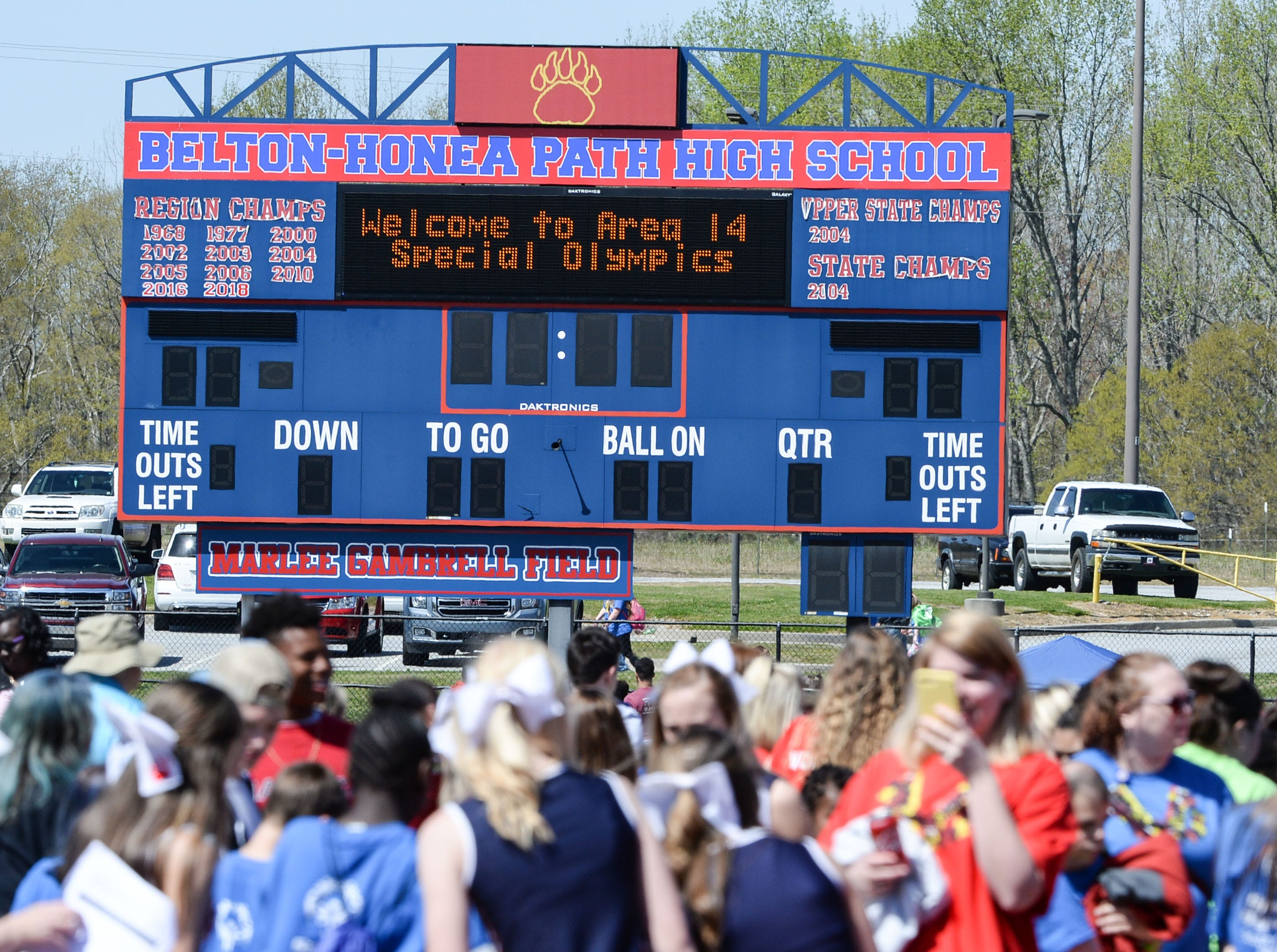 The scoreboard near the crowd with a welcome to the Special Olympics South Carolina Area 14 Spring Games at Marlee Gambrell field at Belton-Honea Path High School Wednesday.