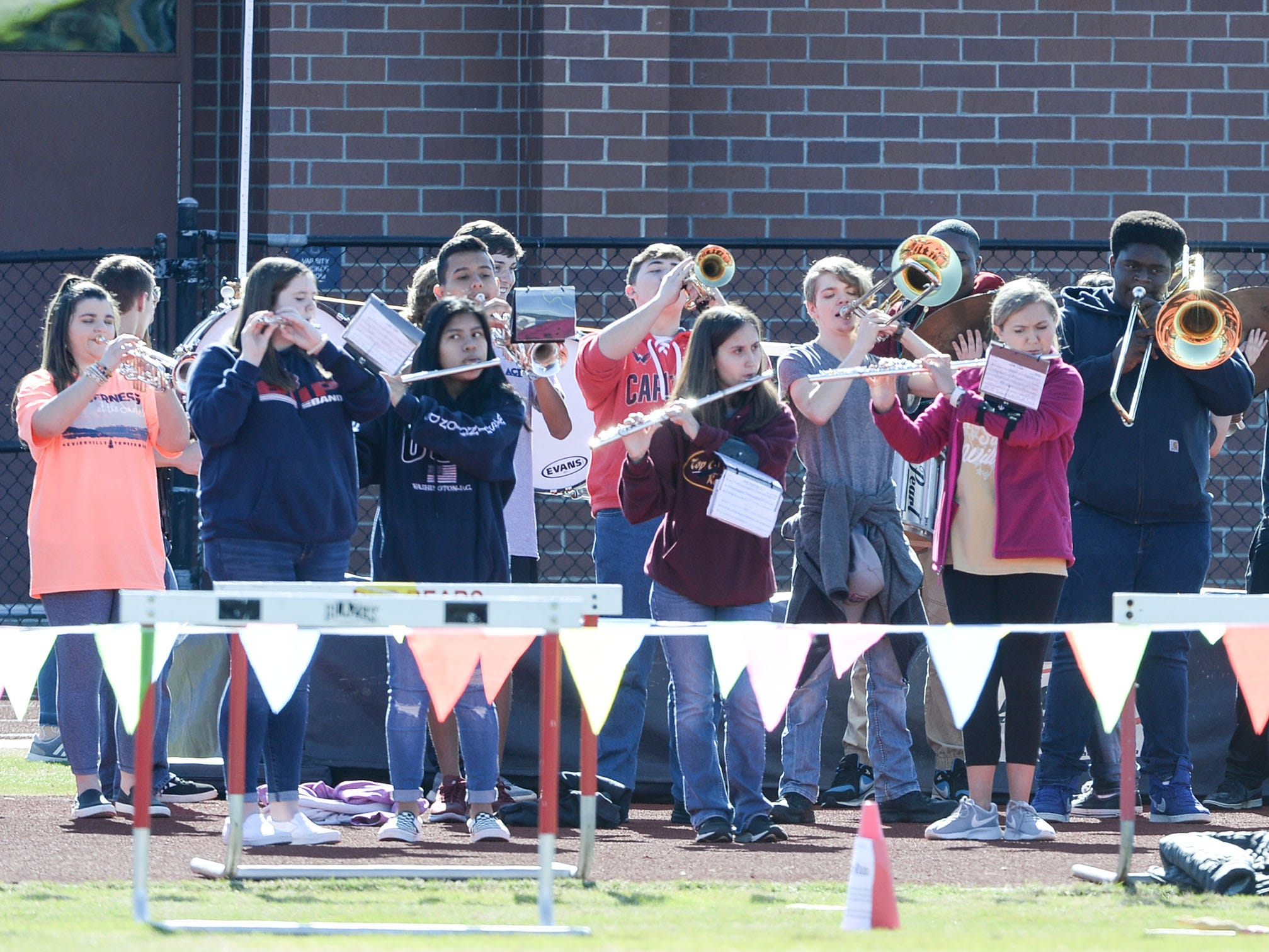 Belton-Honea Path High School band play before the Special Olympics South Carolina Area 14 Spring Games at Marlee Gambrell field at Belton-Honea Path High School Wednesday.