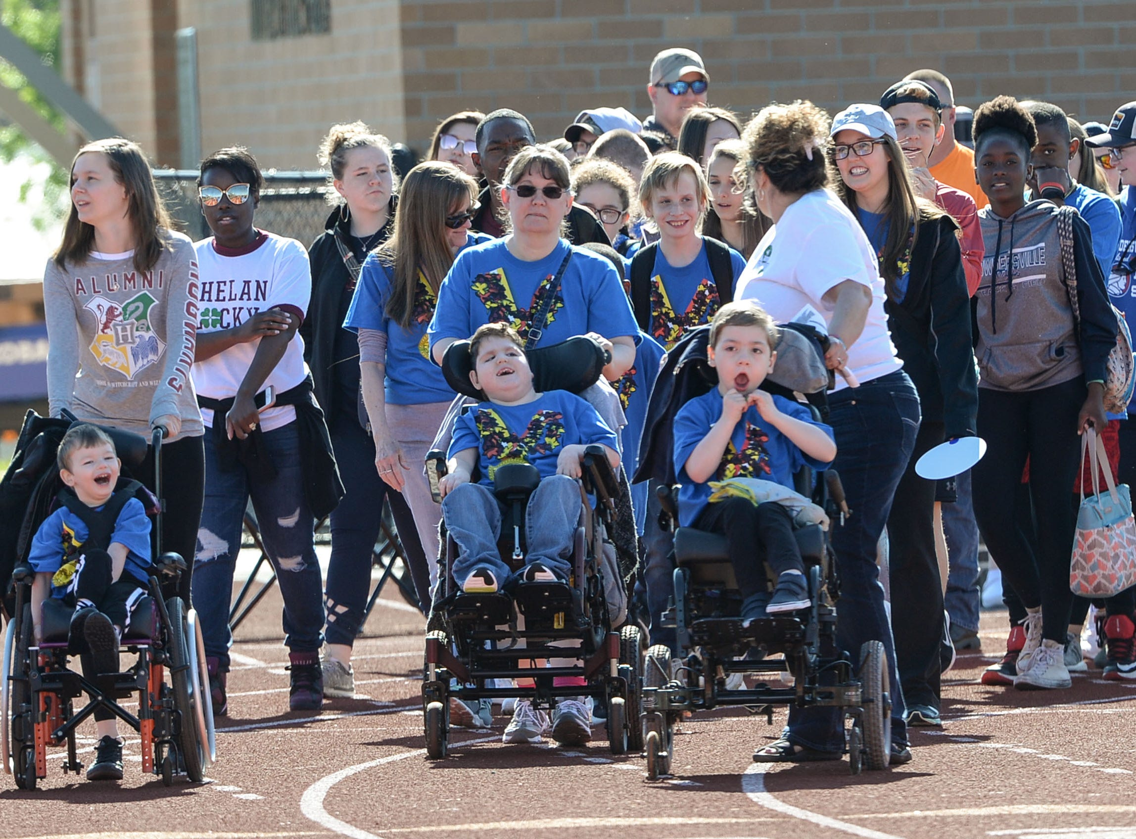 The opening parade with athletes during the Special Olympics South Carolina Area 14 Spring Games at Marlee Gambrell field at Belton-Honea Path High School Wednesday.