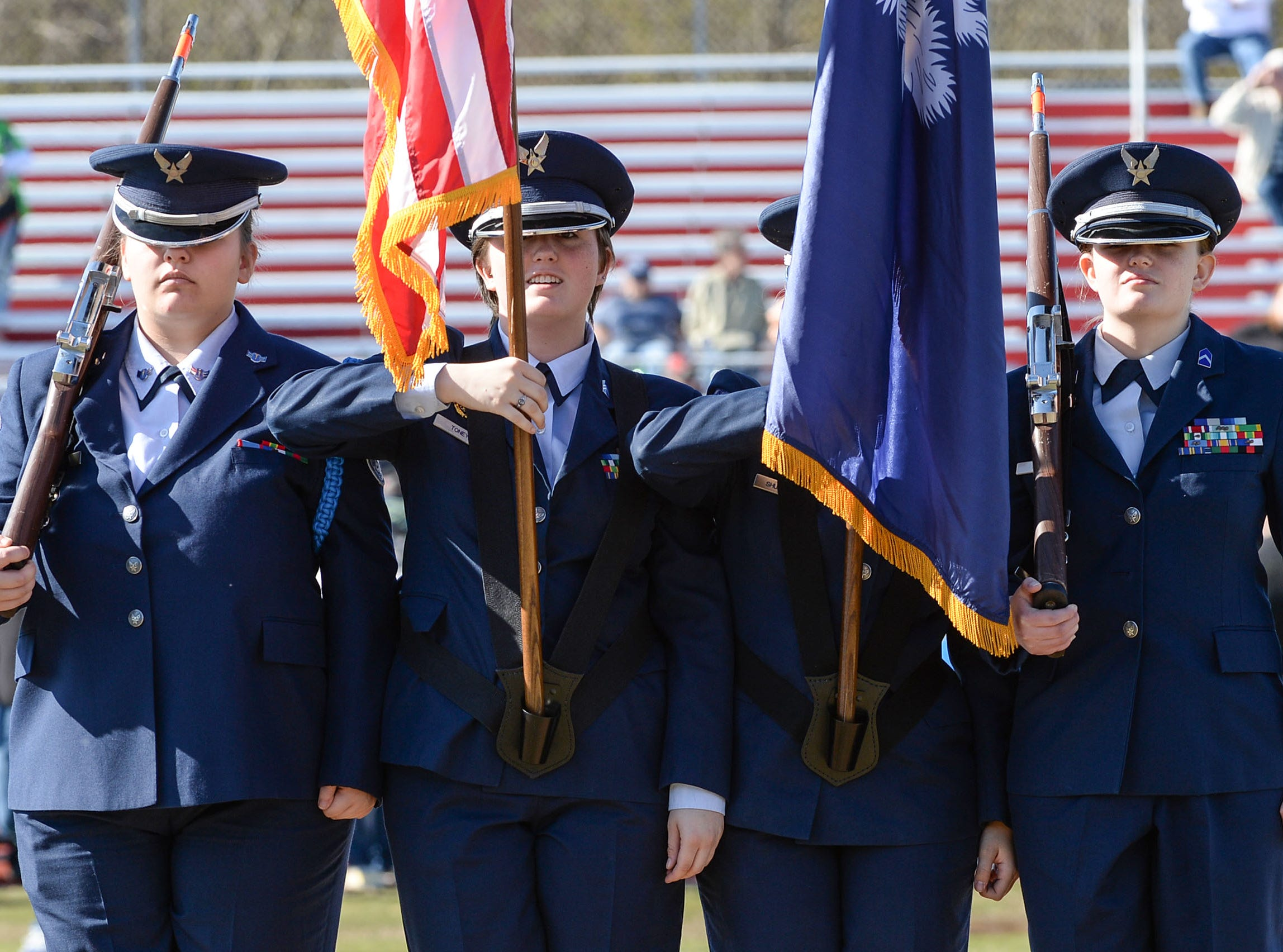 Belton-Honea Path High School Air Force JROTC color guard for the National Anthem during the Special Olympics South Carolina Area 14 Spring Games at Marlee Gambrell field at Belton-Honea Path High School Wednesday.