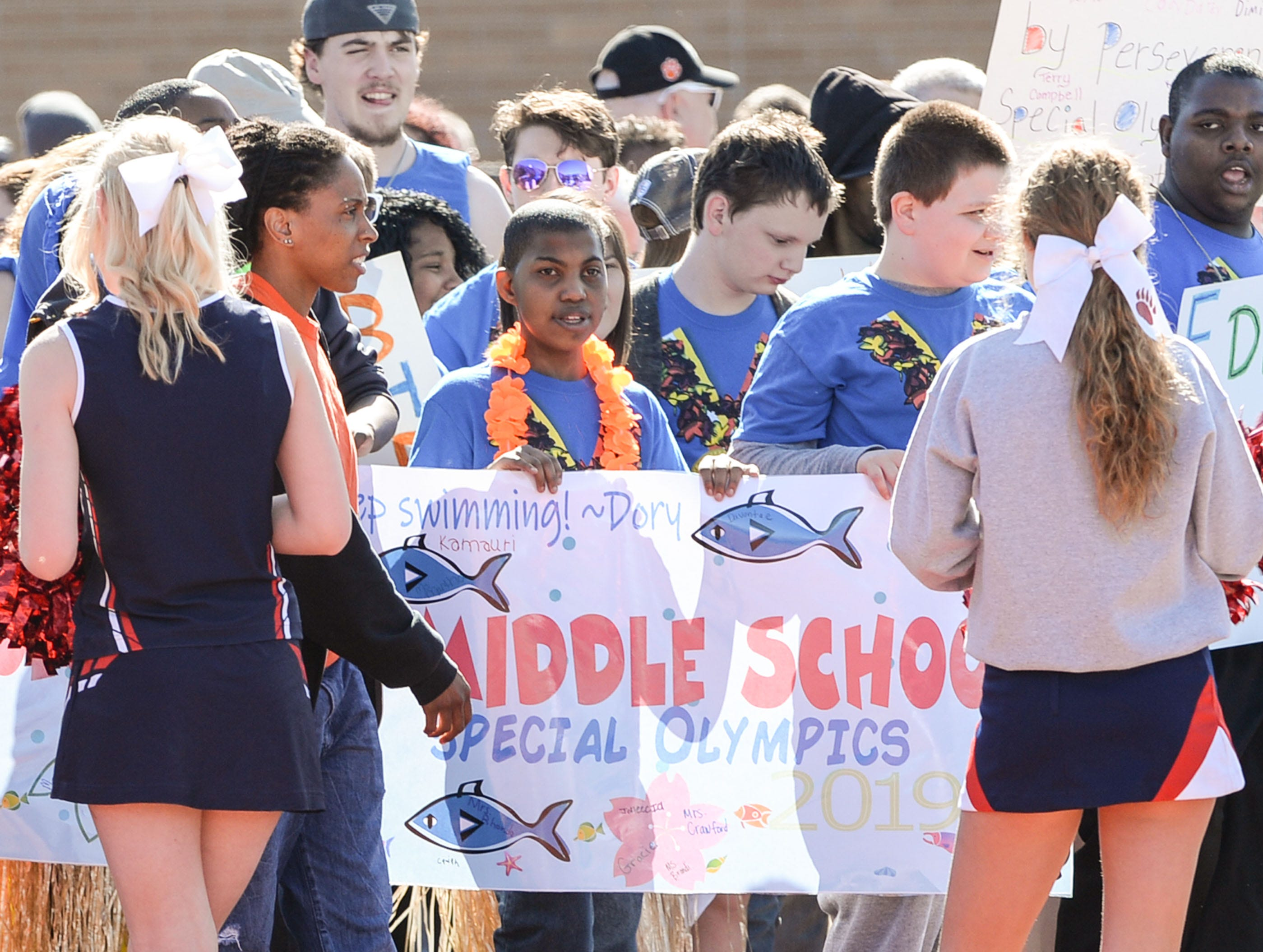 The opening parade with athletes from Honea Path Middle School during the Special Olympics South Carolina Area 14 Spring Games at Marlee Gambrell field at Belton-Honea Path High School Wednesday.