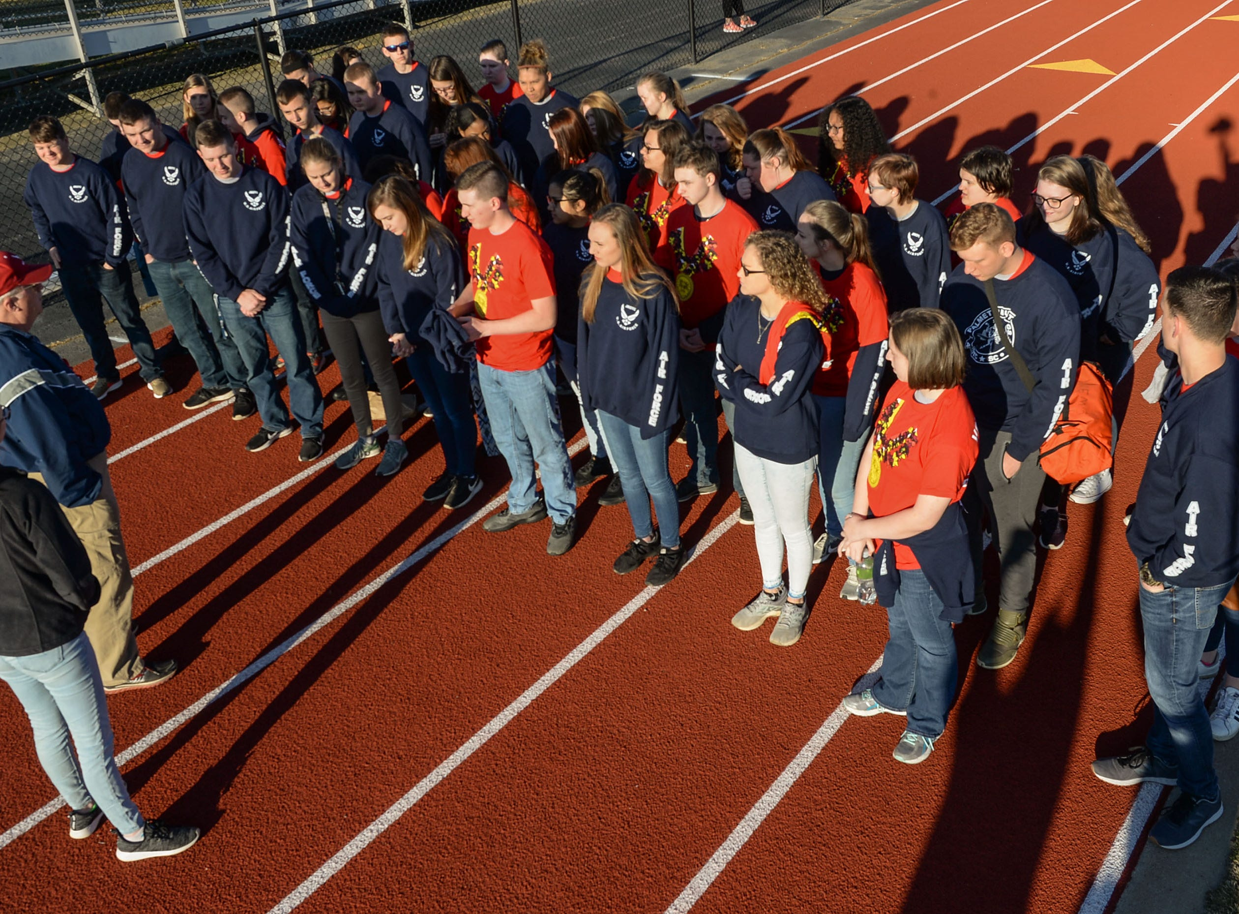 Volunteers from Palmetto High School gather before the Special Olympics South Carolina Area 14 Spring Games at Marlee Gambrell field at Belton-Honea Path High School Wednesday.
