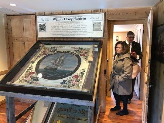 Ocean County Sheriff Michael G. Mastronardy and Ocean County Comptroller Julie N. Tarrant tour the restored Cedar Bridge Tavern in Barnegat on Monday, April 1, 2019.