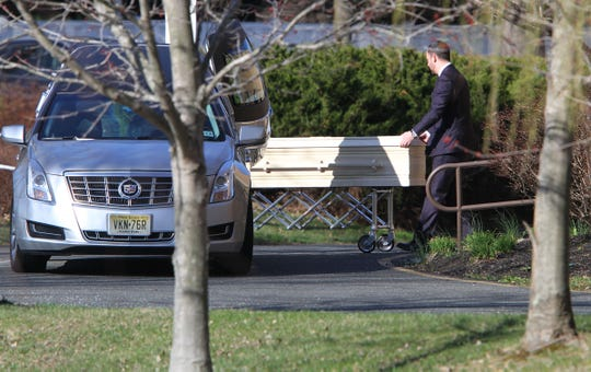 A casket is wheeled into the Congregation Beth Chaim in Princeton Junction, NJ, Wednesday, April 3, 2019, where funeral services are scheduled for Samantha Josephson.  Josephson, 21, a senior at the University of South Carolina, was killed after she got into a car she thought was her Uber.