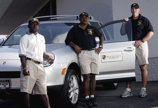 Piscataway HS football coaches (left to right) A.J. Cook, Larry Lester and Dan Higgins in 2005.