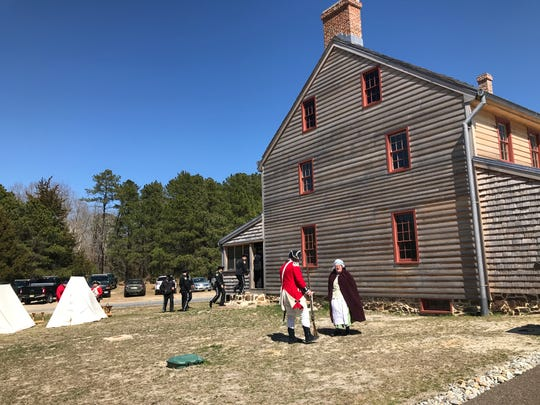 American Revolutionary War reenactors and officers in full dress uniform from the Ocean County Sheriff's Department participated in opening day ceremonies at the Cedar Bridge Tavern County Historic Site on Monday, April 1, 2019.