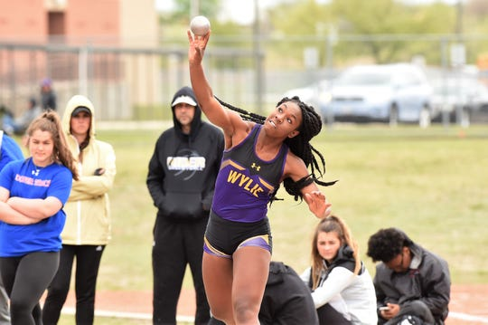 Wylie's Rosia Collins lets go of the shot put at the District 4-5A meet in Aledo on Wednesday, April 3, 2019. Collins won the district title with a throw of 37 feet, 5.25 inches.