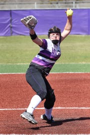 Wylie pitcher Kaylee Philipp (3) goes through her windup against Aledo on Tuesday, April 2, 2019. The Lady Bulldogs won 3-1 to remain tied for first place in District 4-5A.