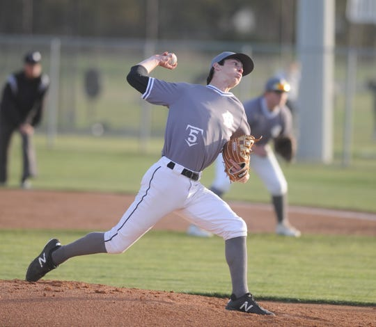Clyde pitcher Payton Laughlin delivers against Jim Ned in a District 5-3A baseball game Tuesday, April 2, 2019, at Bulldog Park.