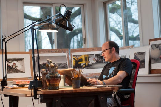 Loren Long in his studio in suburban Cincinnati.
