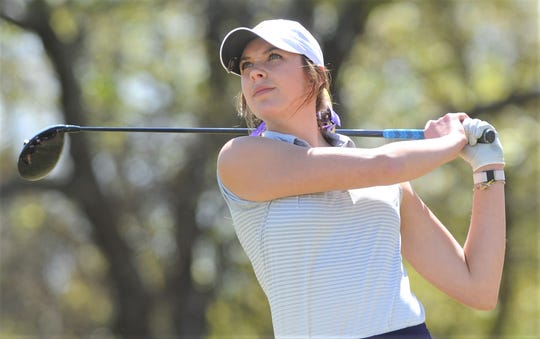 Wylie's Maddi Olson, shown here playing in the District 4-5A tournament earlier this year, leads the West Texas Junior Open golf tournament  after the first day Wednesday at the Abilene Country Club's South Course (Fairway).
