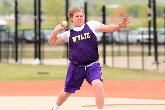 Wylie's Jack Knowles sets to throw the shot put at the District 4-5A meet in Aledo on Wednesday, April 3, 2019. Knowles took bronze and qualified for area with a throw of 46 feet, 2.5 inches.