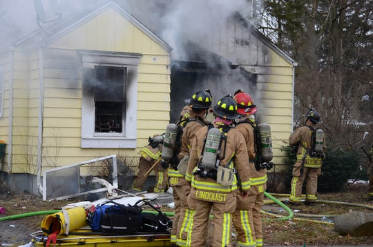 Firefighters at the March 13 fire on 32nd Street in Battle Creek.