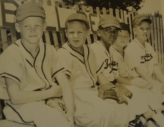 Members of the Albion All-Star T-ball team that played a game at Michigan State University in 1960 that introduced the sport to the world in a film shot by a local television station.