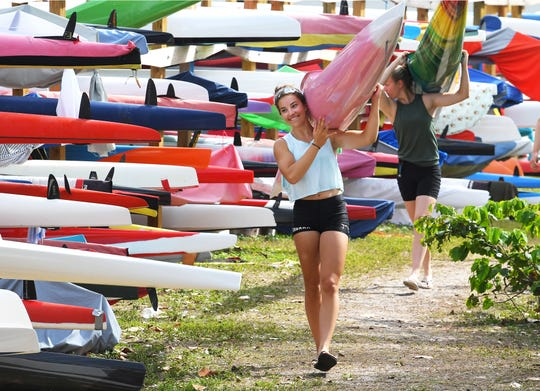 World class kayak and canoe paddlers from teams from several nations, including Canada train in the warm weather of Indian Harbor Beach at Oars and Paddles Park. Many of these paddlers compete in the Olympics, and spend weeks in Brevard.