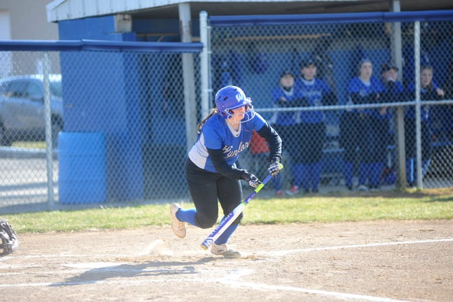 Wynford's Kearston Hulsmeyer races to first after making contact with a pitch.