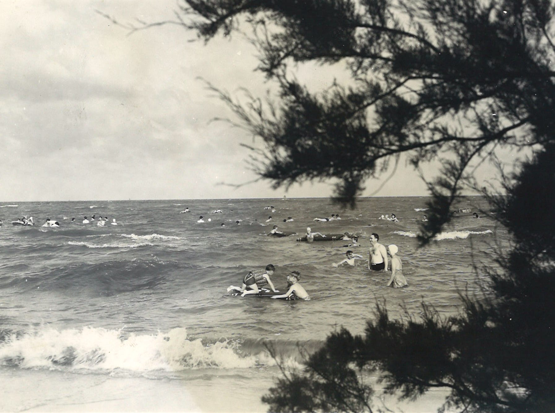 Swimmers on Corpus Christi's North Beach in July 1941. Photo by Doc McGregor.