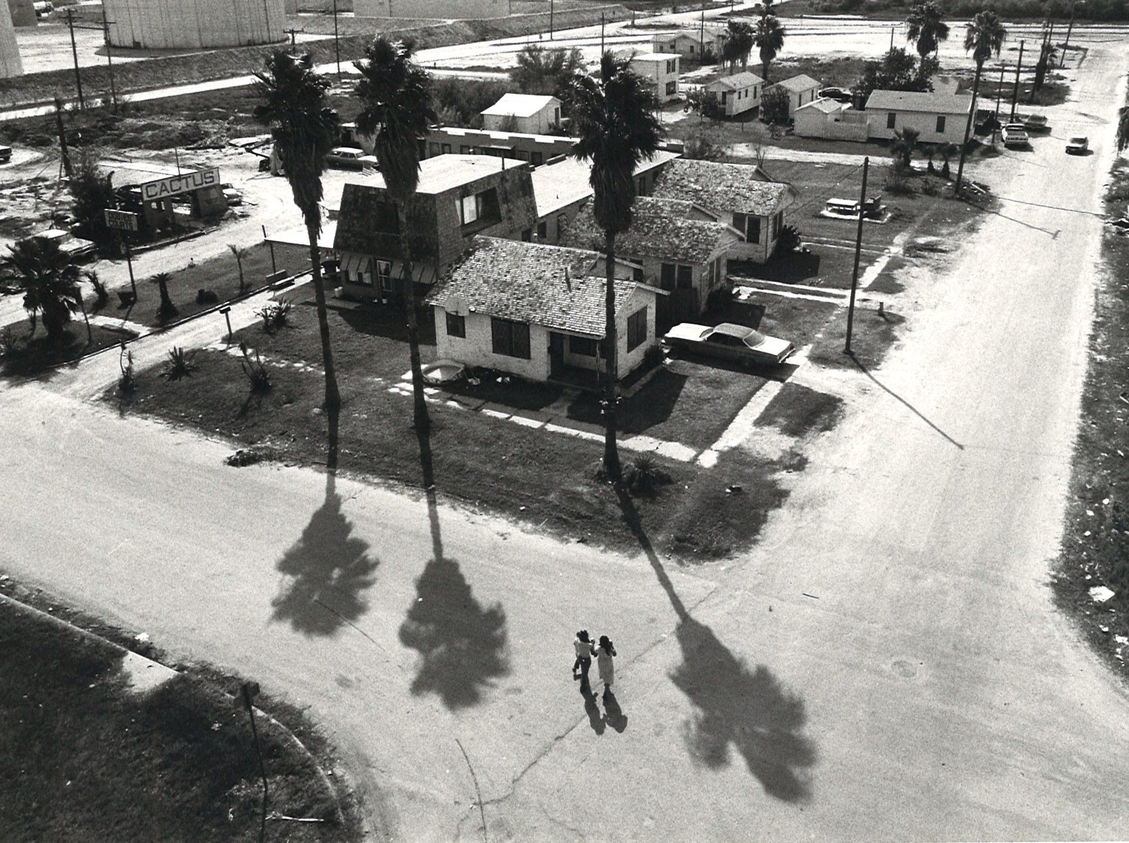 The intersection of Bridgeport and West Surfside on Corpus Christi's North Beach on Aug. 18, 1982.