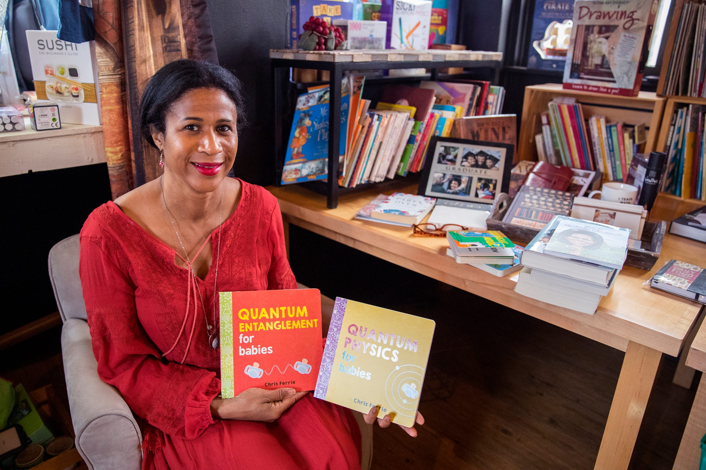 Dr. Jimie Owsley wanted her bookstore to help people be smarter. She offers books such as Quantum Physics for Babies and Quantum Entanglement for Babies.
