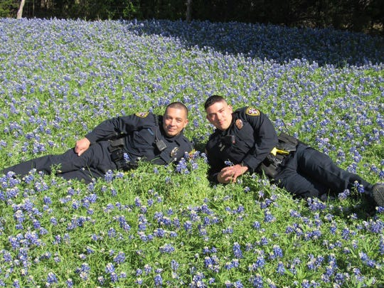 "Copperas Cove police officers pose for a photo in a field of bluebonnets for the ""Back the BLUEbonnets"" challenge."