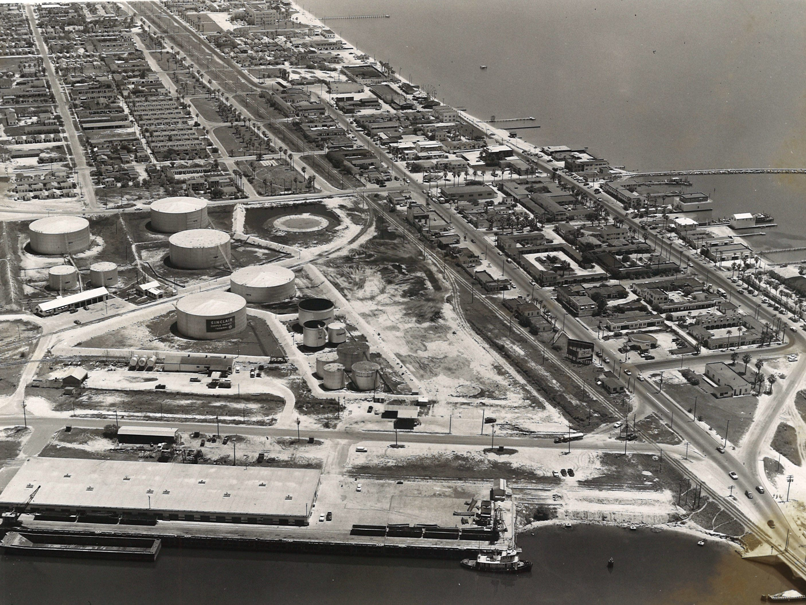 An aerial view of Corpus Christi's North Beach in 1956 when the bascule bridge was still in operation.