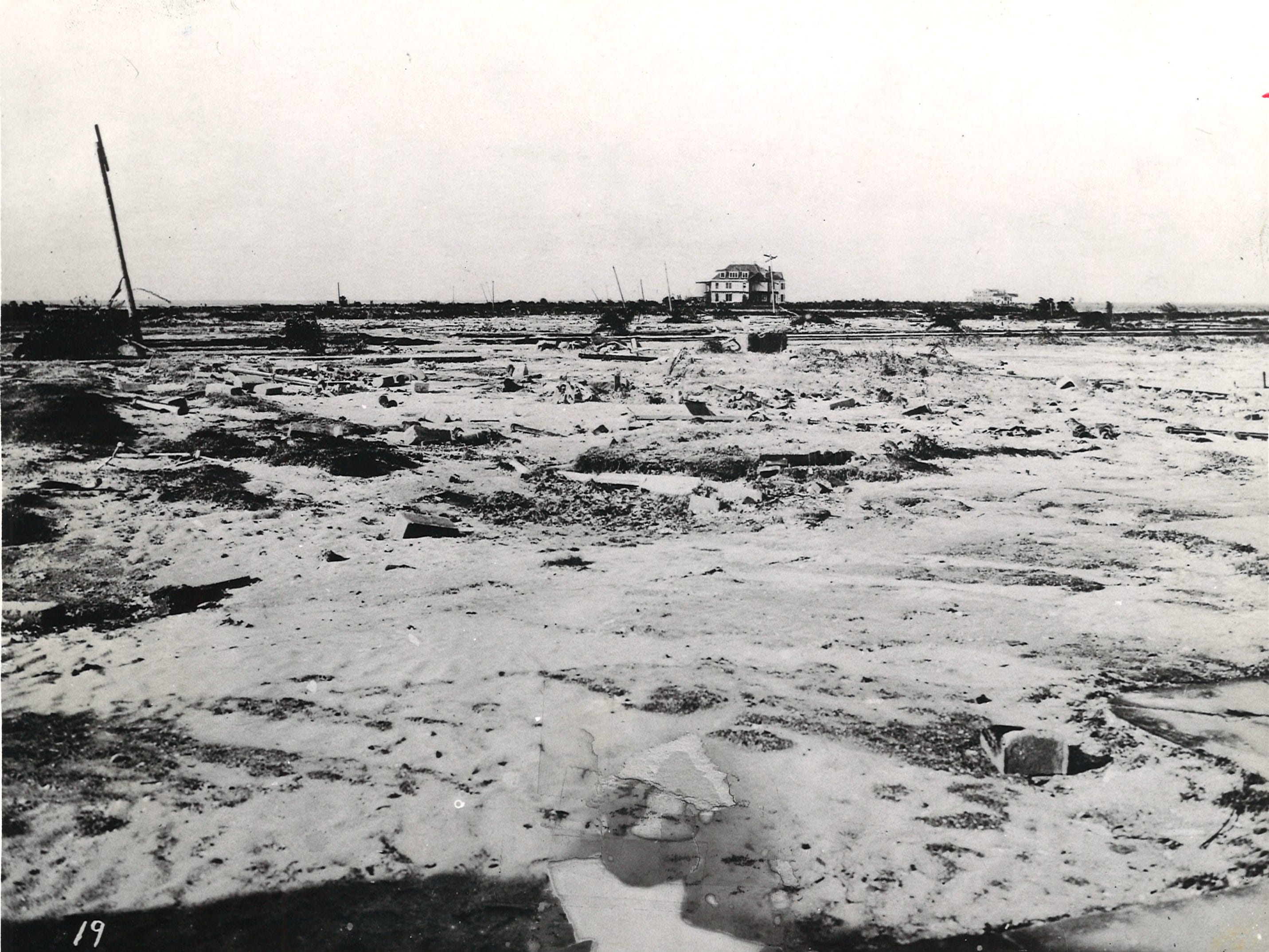 Spohn Sanitarium (in distance) was one of only three buildings left standing on Corpus Christi's North Beach following the 1919 hurricane.