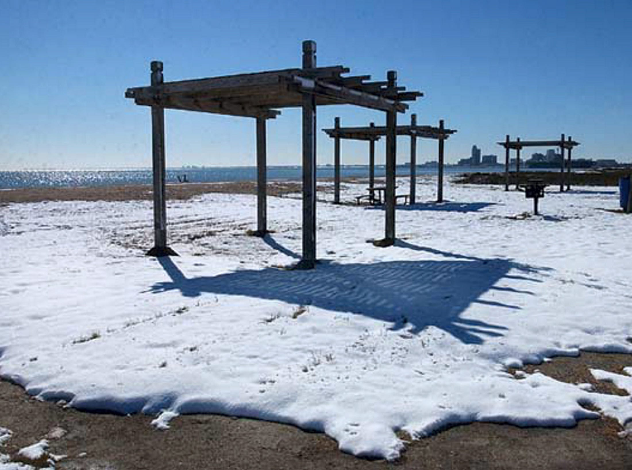 Snow covers the sand on North Beach on Dec. 25, 2004.