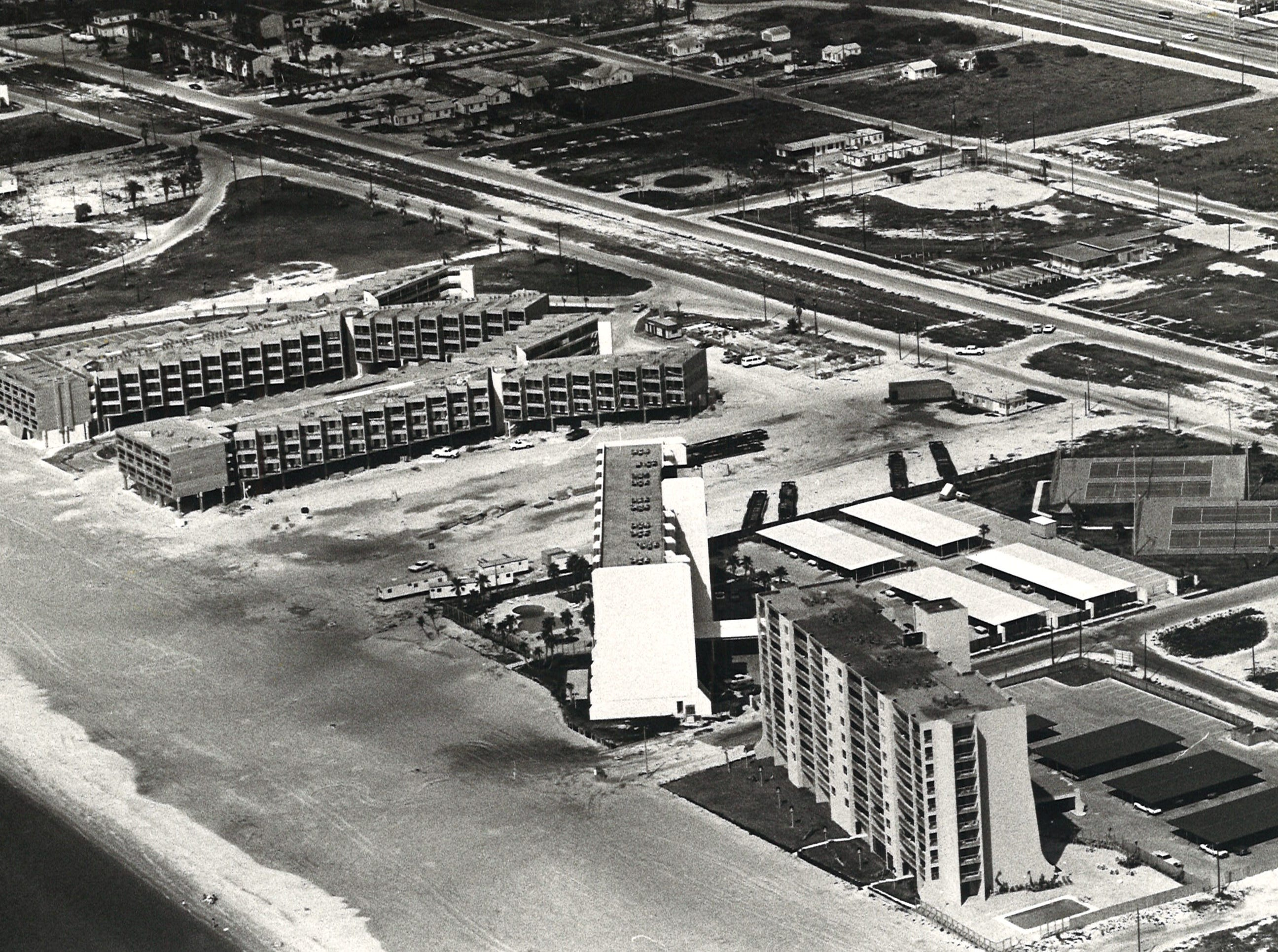 An aerial view of Corpus Christi's North Beach condos in July 1981. Left to right are Villa del Sol, Las Brisas and The Breakers.