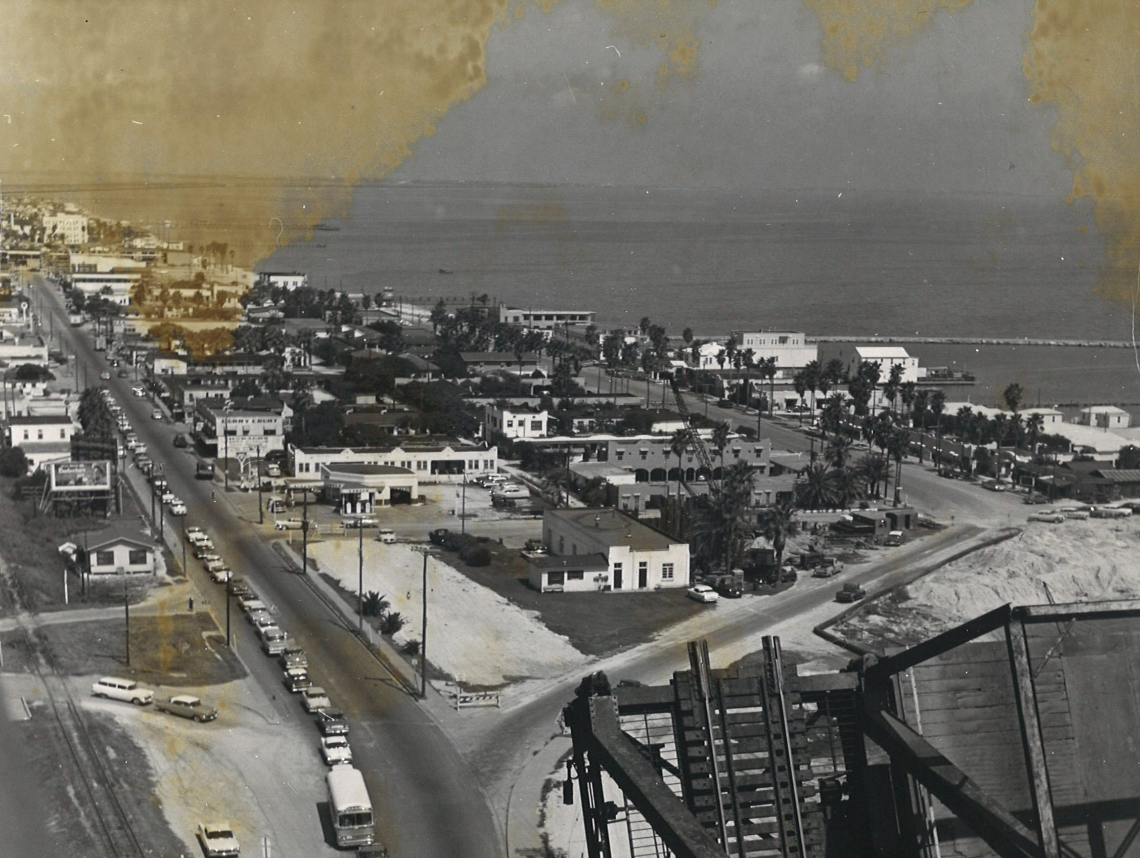 The bascule bridge was still in operation when this photo of Corpus Christi's North Beach was taken in the 1950s.