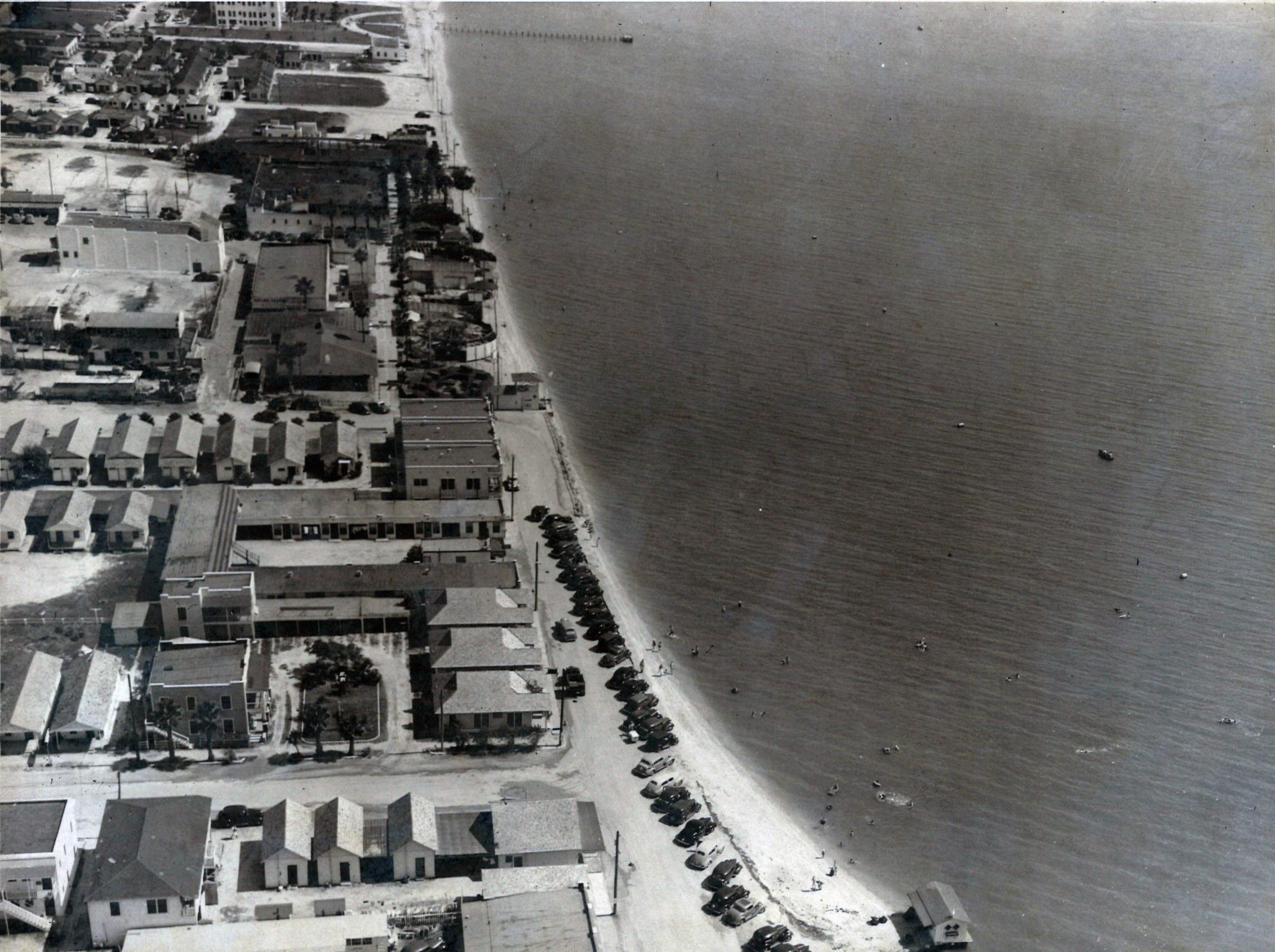 An aerial view of Corpus Christi's North Beach in the early 1940s.