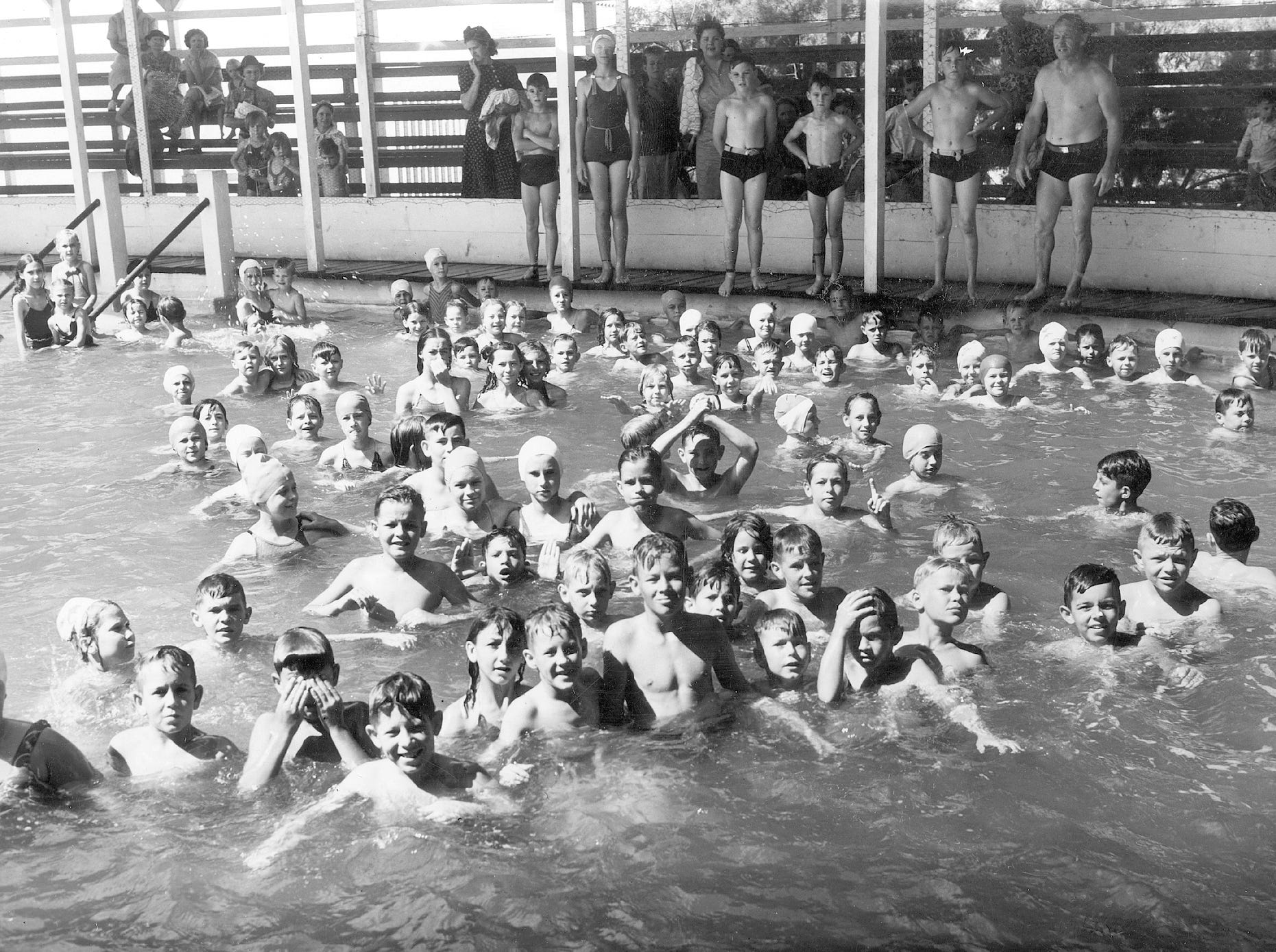 Bruce L. Collins built a saltwater pool on Corpus Christi's North Beach in 1926 that piped in water from the bay for a protected swim. The crowds enjoyed the pool until it was torn down in the late 1950s to make way for what is now the Radisson Hotel and Quality Inn & Suites.