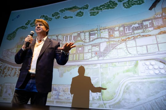 Developer Jeff Blackard answers questions after reveling the North Beach Infrastructure Task Force's  North Beach Redevelopment Proposal at the Texas State Aquarium's Whataburger 4-D Theater on Wednesday, April 3, 2019