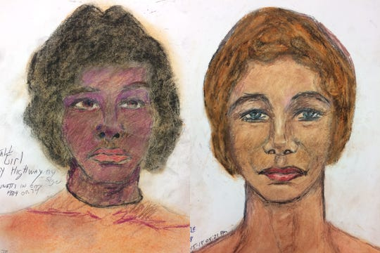Left: a sketch of an unidentified woman Samuel Little says he killed in Cincinnati in 1974. Right: a sketch of an unidentified woman Samuel Little says he met in Columbus, killed and then dumped in Northern Kentucky in 1984.
