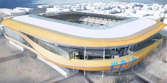 Aerial view of the current rendering. Previous rendering showed the entire stadium wrapped in material that would glow. That's been amended to the ribbons of color shown here.
