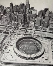 This print of Riverfront Stadium and downtown was among the prints Thom Van Benschoten gave employees for Christmas each year.