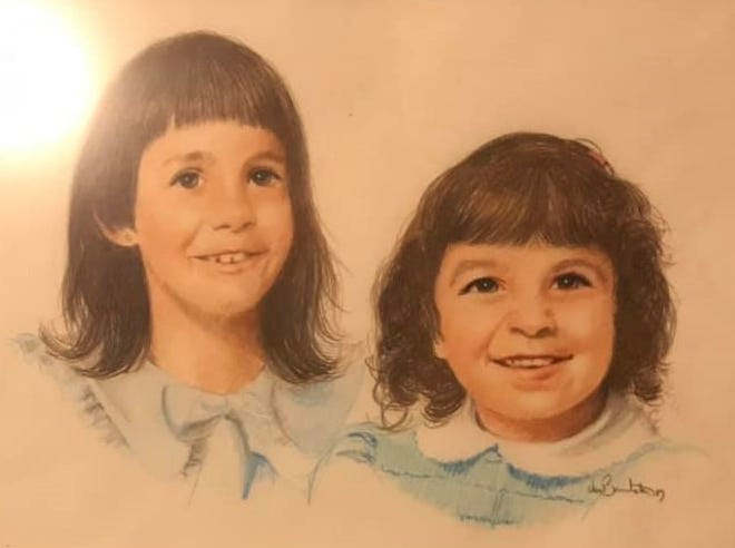 Susan Geist shared this portrait Thom Van Benschoten made of her girls, Krista and Kellie, who were 7 and 4 at the time.