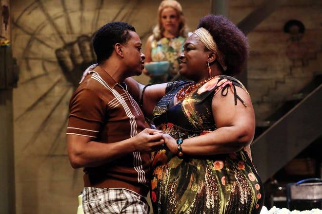 """Bryant Bentley (L), Burgess Byrd (R) and Leslie Goddard (background) are seen in Ensemble Theatre Cincinnati's 2015 production of Dominique Morisseau's """"Detroit 67."""" On Wednesday, another one of Morisseau's plays, """"Pipeline,"""" was announced as part of ETC's 2019-2020 season."""