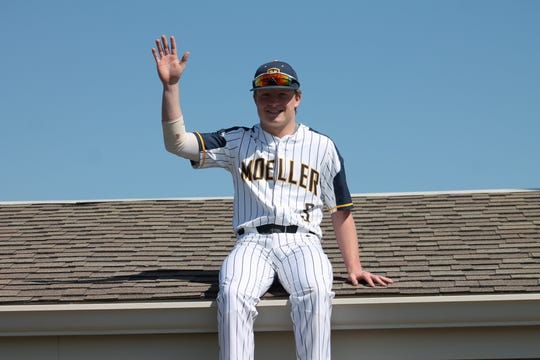 Moeller's Andrew Deyhle recreates Tom Browning after throwing a perfect game for the Crusaders back on March 27