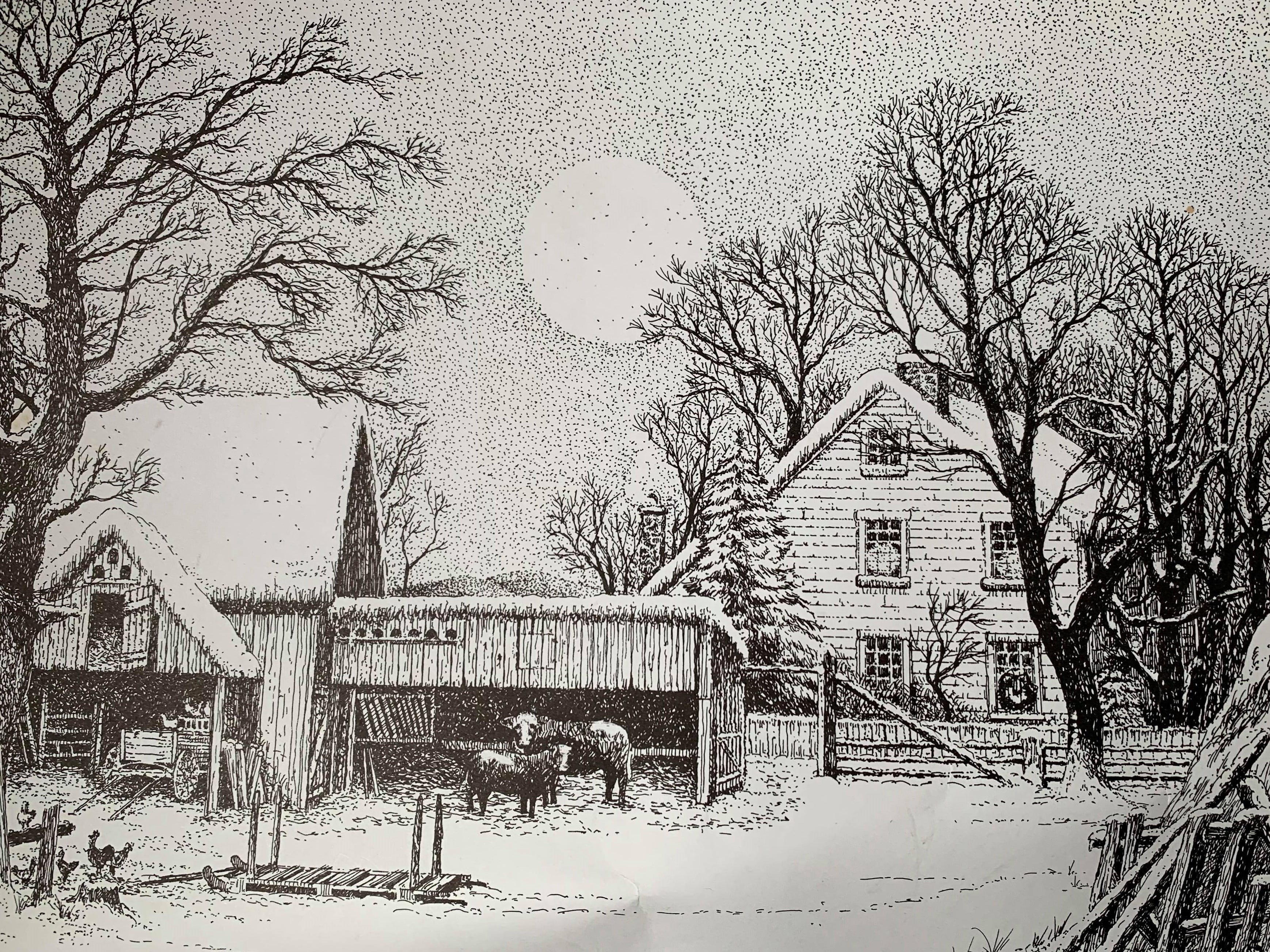 This print of a winter farm scene was among the prints Thom Van Benschoten gave employees for Christmas each year.