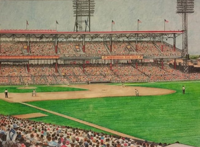 """Thom Van Benschoten created this picture of Crosley Field as a Christmas gift for Melinda Justice-Taylor's husband. She said, """"He was so talented and I'm thankful he shared his gift with so many."""""""