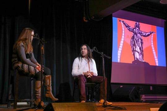 Urban Artifact hosts Homebrewed Independent Movie Night once a month for local independent filmmakers. Host Katharine Steele holds a Q&A with Homer Shadowheart after screening his film.