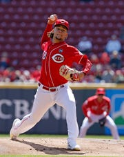 Cincinnati Reds starting pitcher Luis Castillo (58) delivers a pitch in the first inning of the MLB National League game between the Cincinnati Reds and the Milwaukee Brewers at Great American Ball Park in downtown Cincinnati on Wednesday, April 3, 2019. The Brewers led 1-0 after three innings.
