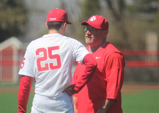 Beechwood head coach Kevin Gray talks to pitcher Andrew Fieger as Beechwood defeated Newport 15-0 in baseball April 3, 2019 at Beechwood HS, Fort Mitchell KY.