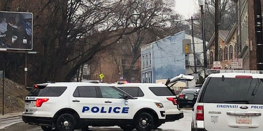 Police vehicles on Vine Street during the Feb. 11, 2019 standoff involving Timothy Kirk.