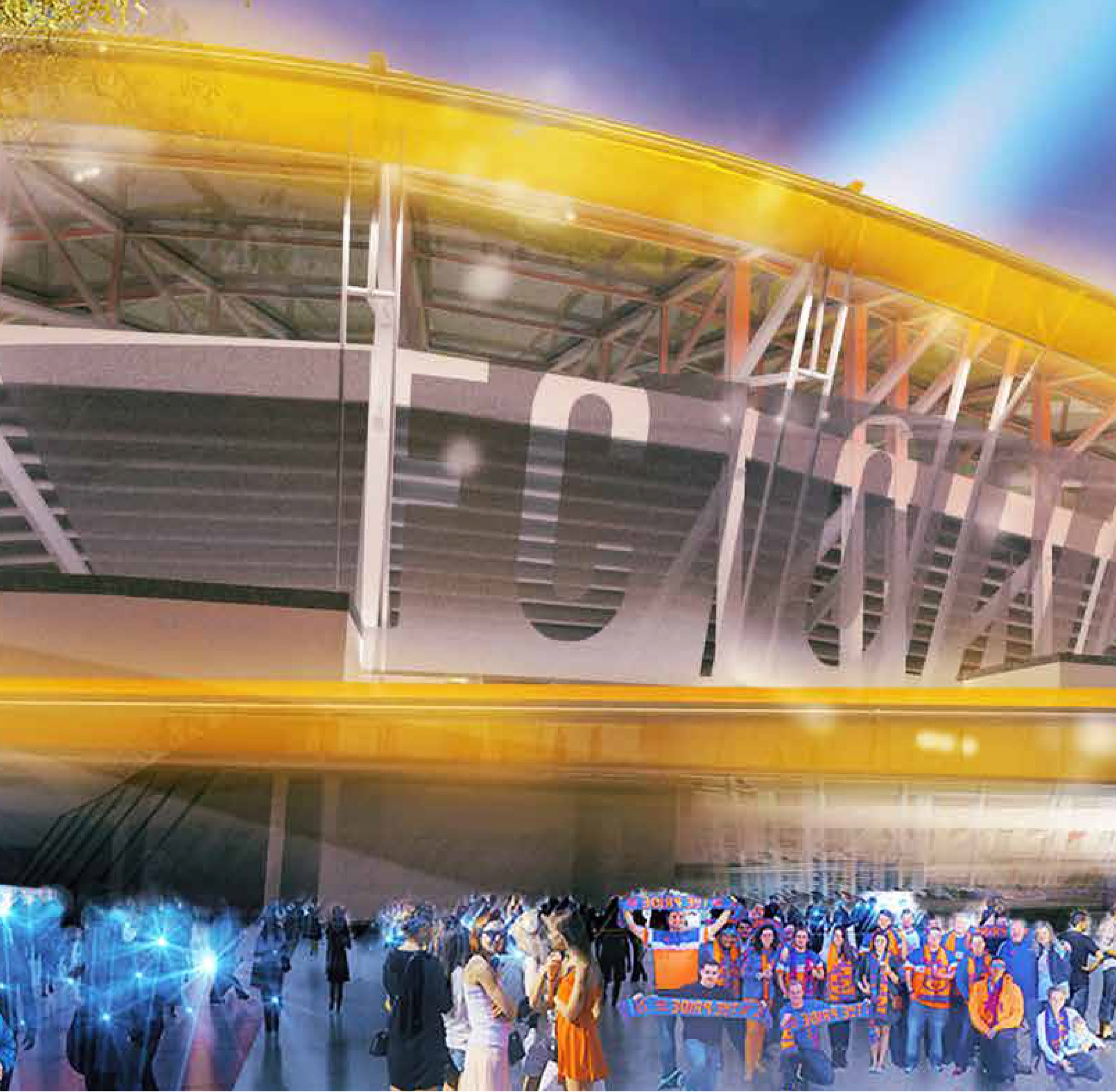Evening view of the current rendering. Previous rendering showed the entire stadium wrapped in material that would glow. That's been amended to the ribbons of color shown here.