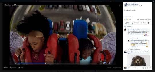 A screenshot from Daytona Slingshot's ride, just as Charlene Hill lost her wig on March 25, 2019.